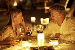 couple enjoying meal together