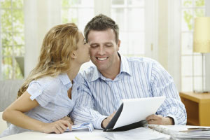 couple looking at papers together