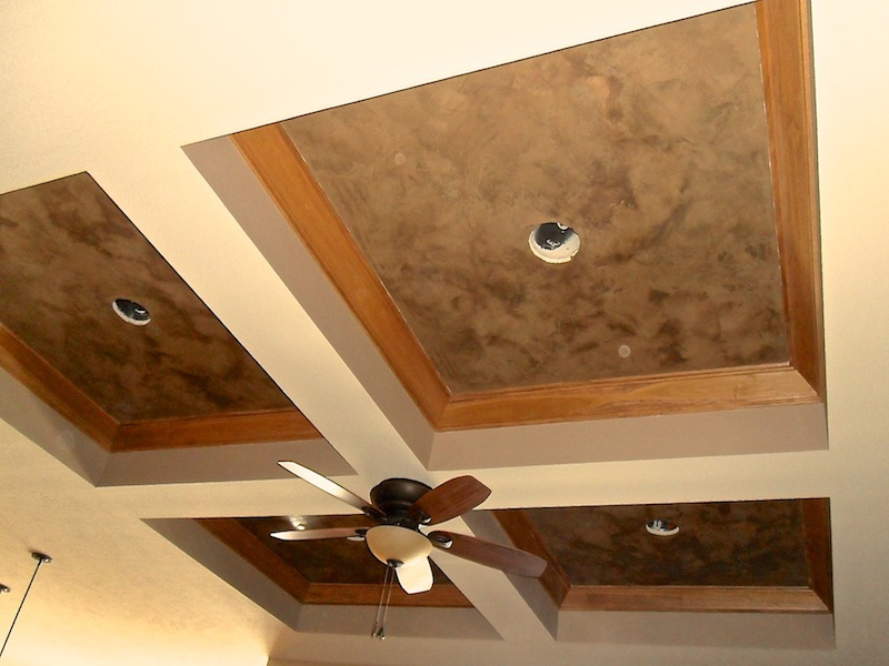 Coffered Ceiling - Italian Venetian Plaster